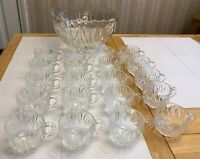 34pc Large Vintage Anchor Hocking Glass Punch Bowl, 16 Cups 12 Hangers & Ladle