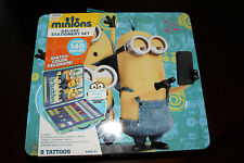 DESPICABLE ME MINION TIN 140PC DELUXE STATIONERY SET TATTOOS STICKERS MORE NEW