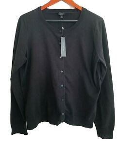 NWT TALBOTS classic black cardigan sweater L pima cotton.