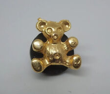 Teddy Bear Gold Tone Vintage Metal Lapel Pin