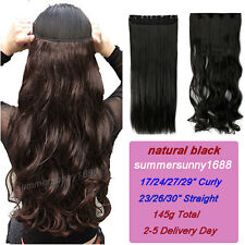 "17-30"" Long Clip in on Hair Extensions One Piece 5Clips Curly Straight Hair ss35"