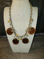 Vintage Retro Glass & Crystal Pendant Necklace