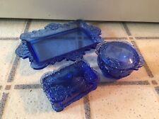 Vintage Glass Cobalt Blue Dresser Set - Tray W 2 Glass Trinket Boxes - Cute Set