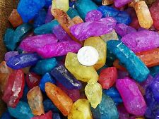 500 Carat Lots of Dyed Crystal Points - Plus a FREE Faceted Gemstone