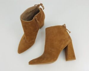 Stuart Weitzman Brown Suede Leather Pointed Toe Ankle Boots Shoes Size 8.5