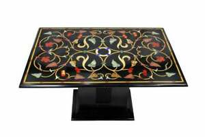 """36"""" x 24"""" Marble Table Top Pietra Dura Inlay Work handmade With Marble Stand"""