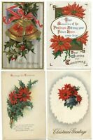 Lot of 4 ~ CHRISTMAS poinsettia bells holly ~ c1910 vintage postcard