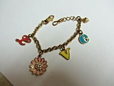 Juicy Couture 5 Charm Love Bracelet Flower Pink Daisy Gold Tone