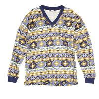 Vintage Langarmshirt M Longsleeve Aztekenuster Ethno Print Pullover Sweatshirt