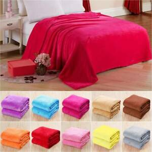 Soft Fleece Warm Throw Velvet Blanket Double King Size Couch Sofa Bed Colorful