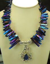 Statement Titanium Quartz Necklace with Druzy Pendant Sterling Silver Jewelry