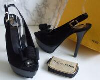 FENDI Italy Designer Black Suede Gold Heels Pump Shoes Size EU 37 UK 4 RRP €450