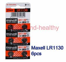 Maxell  LR1130 (AG10 189) new 0% Hg Alkaline watch Battery x 6 pcs FREE shipping
