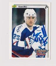92/93 Upper Deck Sean Hill Team USA Autographed Hockey Card