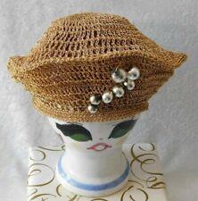 Vintage Crochet Metallic Gold Beret Flexible W/ Silver Tone Decoration - Nice!