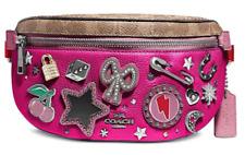 🌺🌹COACH Souvenir Pins Leather Belt Bag 78003 Tan/Pink/Silver Original Pak.