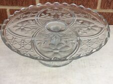 Vintage EAPG Glass Pedestal Cake Stand Plate:      Daisy  & Arches