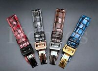 20 MM Alligator Leather Strap Band Deployment Buckle Clasp Fits For IWC Vintage
