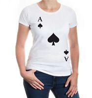 Damen Kurzarm Girlie T-Shirt Ass-Karte-Pik Fasching Karneval Spielkarte Funshirt