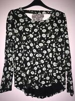 Black Floral Long Sleeved Next Top Blouse Size Ladies UK 8 Viscose 100%