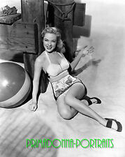 AUDREY TOTTER 8X10 Lab Photo B&W 1950s Sexy Beach Ball Babe, Leggy Glam Portrait