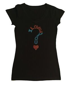 Women's Rhinestuds T-Shirt I Love you in Size - Sm to 3X