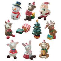 KE_ Mini Cartoon Rabbit Elk Snowman Santa Animals Christmas Desktop Home Decor