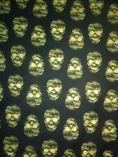 Halloween-TIMELESS TREASURES cotton fabric-Camo/camouflage skulls-metallic-1yd