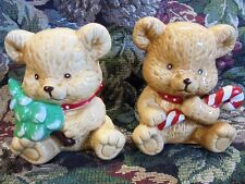Vintage Bears and Bows  Christmas Salt and Pepper Shakers Summit Collections