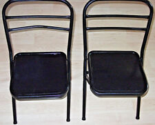 "23"" Set Of 2 Painted Black METAL FOLD-UP Moveable Children Kids Playroom CHAIRS"