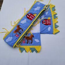 John Deere Nursey Crib Bumper Pad and Bed Skirt Blue Yellow Green Farm Animals