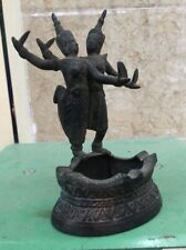 Antique Cambodia Bronze Ashtray Apsara Sculpture Statue Shiva Rare