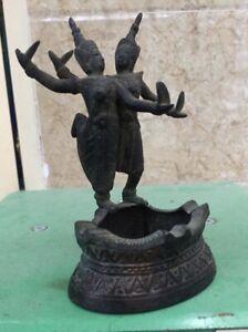 Antique Cambodia Bronze Ashtray Apsara Sculpture Statue Shiva Rare