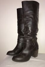 Diba Women's Brown Boots Knee High With Buckle Strap Pull On Size 7.5 M
