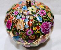 "Beautiful Oriental  Ginger Jar Vase Cachepot floral with lid 11""x11"" perfect"