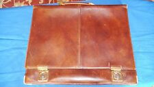 ITALIAN LEATHER BRIEFCASE SILVANI MADE IN ITALY BROWN