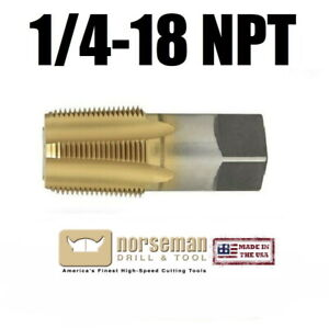 "1/4-18 NPT HSS Taper Pipe Tap, Super Premium, USA made 1/4"" Tap Norseman 61260"
