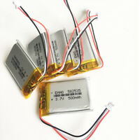 5 x 3.7V 500mAh Lipo Polymer Battery JST 1.0mm 3pin For GPS camera DVD 582535
