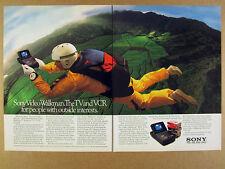1990 Sony Video Walkman Personal TV 8mm VCR skydiver photo vintage print Ad