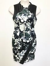 CUE teal black white floral print sleeveless satin look fitted dress sz 12 lined