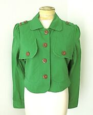 VGC Luella Target Green Stretch Cotton Twill Cropped Jacket Button Epaulets XL