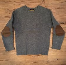 Ralph Lauren Rugby Shetland Sweater with Suede Elbow Patches in Gray Size XS