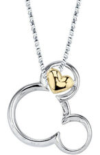 DISNEY STERLING 10K GOLD OVER STERLING SILVER MICKEY MOUSE HEART NECKLACE 18""