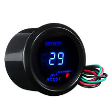 "HS2"" 52mm Black Cover Car Universal Digital Blue LED PSI Turbo Boost Gauge Meter"