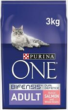 12 KG Purina ONE Adult Dry Cat Food Salmon and Wholegrain 3kg , Pack of 4