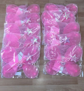 x10 Girls Pink Fairy Costume Childs Fairytale Magic Fancy Dress Outfit