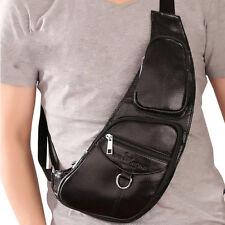 Echt Leder Umhängetasche Schultertasche Messenger Sling Pack Bag Brust Tasche