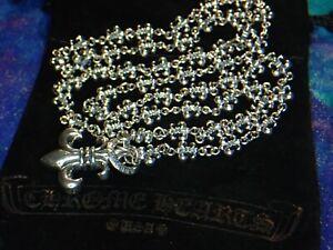 """54.6 Grams 26"""" Chrome Hearts Sterling Silver Fleur De Lis Lariat Chain Necklace"""