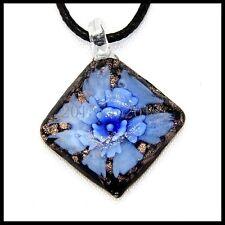 Fashion Women's Slant lampwork Murano art glass beaded pendant necklace #M213