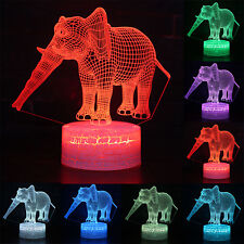 3D Elephant Illusion LED Table Bedroom Lamp 7 Colors Change Touch Night Light